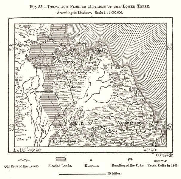Associate Product Delta and Flooded Districts of the Lower Terek. Russia. Sketch map 1885