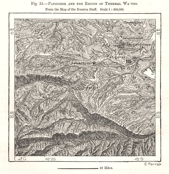 Associate Product Pyatigorsk & the Region of Thermal Waters. Russian Staff map. Sketch map 1885