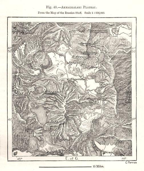 Associate Product Akhalkalaki Plateau. Georgia. Sketch map 1885 old antique plan chart