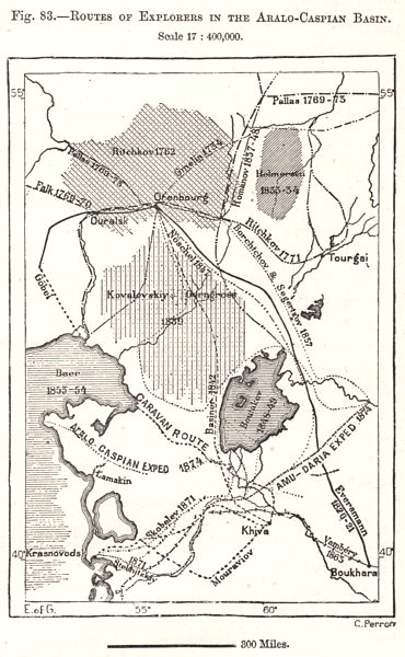 Associate Product Explorers' routes in the Aralo-Caspian Basin. Kazakhstan. Sketch map 1885