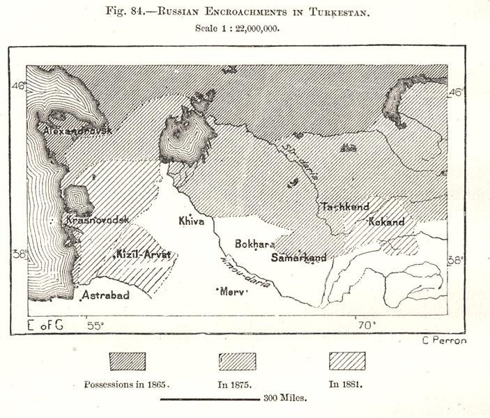 Associate Product Russian Encroachments in Turkestan. Uzbekistan. Samarkand. Sketch map 1885