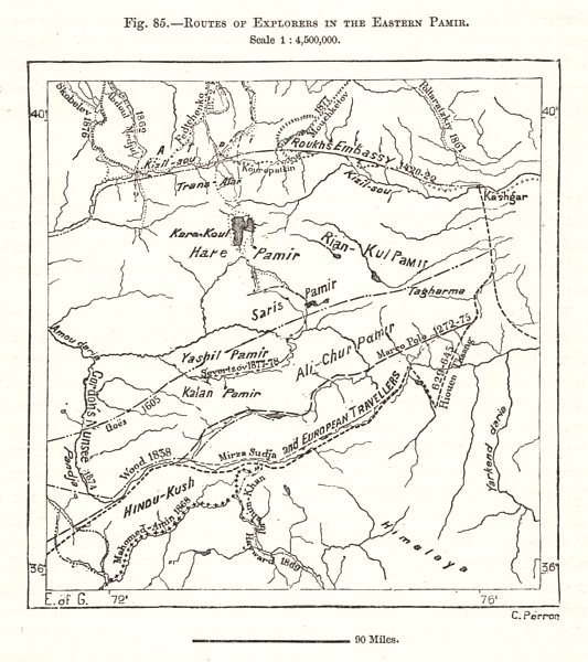 Associate Product Routes of Explorers in the Eastern Pamir. Hindu Kush. China. Sketch map 1885