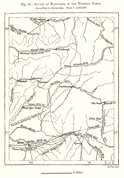 Associate Product Routes of Explorers in the Western Pamir. Central Asia. Sketch map 1885