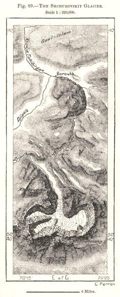 Associate Product The Schurovsky Glacier. Tajikistan. Sketch map 1885 old antique plan chart