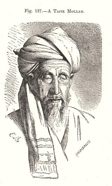 Associate Product A Tajik Mullah. Islam. Tajikistan 1885 old antique vintage print picture