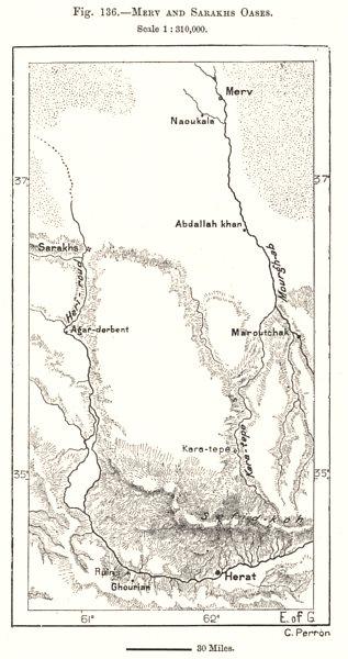 Associate Product Merv and Serakhs Oases. Herat Afghanistan. Turkmenistan. Sketch map 1885
