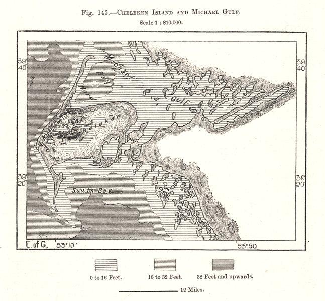 Associate Product Cheleken Island / peninsula and Turkmenbashi Gulf. Turkmenistan. Sketch map 1885