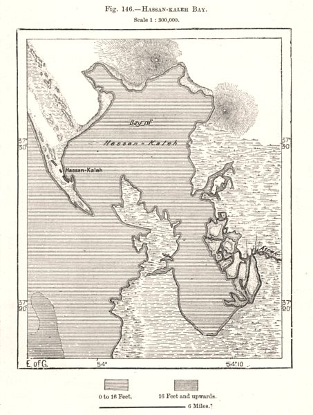 Associate Product Hassan Gholi Bay. Turkmenistan. Sketch map 1885 old antique plan chart