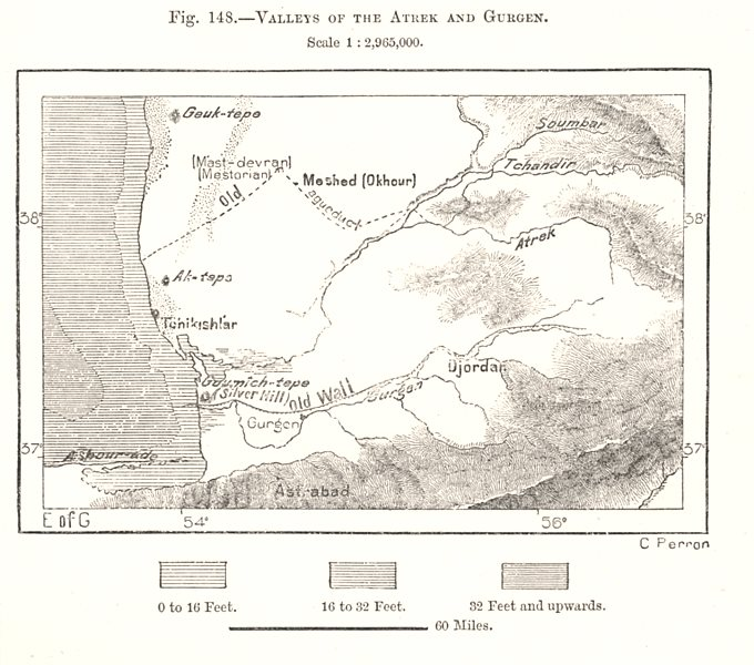Associate Product Valleys of the Atrek and Gorgan. Iran. Sketch map 1885 old antique chart