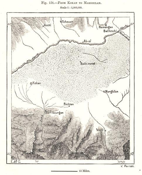 Associate Product From Kokand to Margilan. Uzbekistan. Sketch map 1885 old antique chart