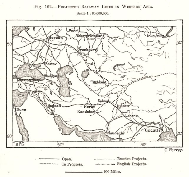 Associate Product Projected Railway Lines in Western Asia. Sketch map 1885 old antique chart