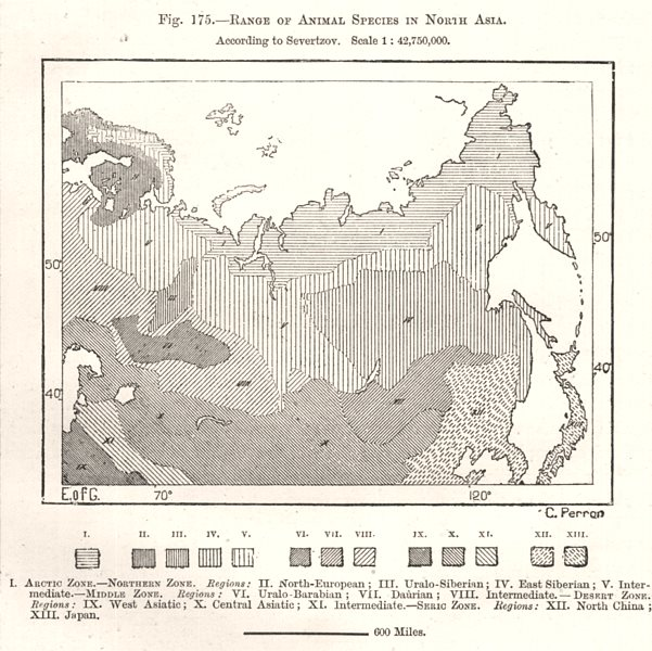 Associate Product Range of Animal Species in North Asia. Sketch map 1885 old antique chart