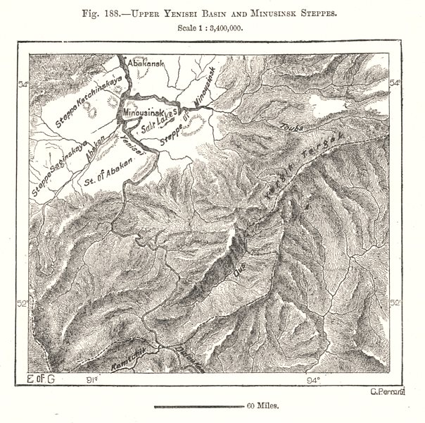 Associate Product Upper Yenisei Basin and Minusinsk Steppes. Russia. Sketch map 1885 old