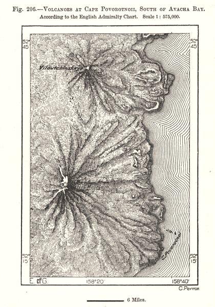 Associate Product Kamchatka volcanoes. Vilyuchik & Mutnovsky. Avacha Bay. Russia. Sketch map 1885