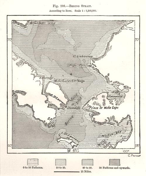 Associate Product Bering Strait. Alaska Russia. Sketch map 1885 old antique plan chart