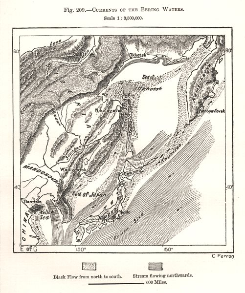 Associate Product Currents of the Bering Waters. East Asia Japan Russia. Sketch map 1885 old