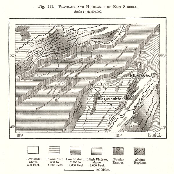 Plateaux and Highlands of East Siberia. Russia. Sketch map 1885 old