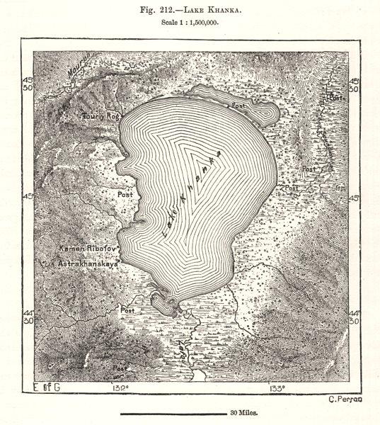 Associate Product Lake Khanka / Xingkai. East Asia. Sketch map 1885 old antique plan chart