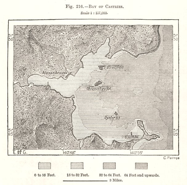 Associate Product Bay of Castries. Chikhachyova Bay. De-Kastri. Russia. Sketch map 1885 old