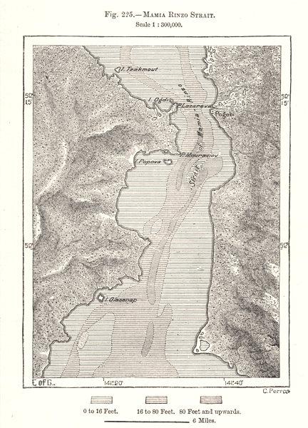 Associate Product Nevelskoy Strait. Khabarovsky. Cape Lazarev. Sakhalin. Russia. Sketch map 1885