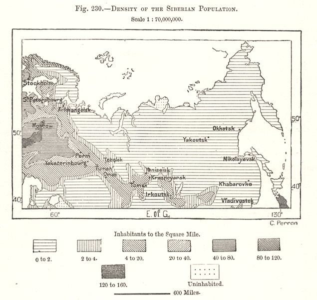 Associate Product Density of the Siberian Population. Russia. Sketch map 1885 old antique