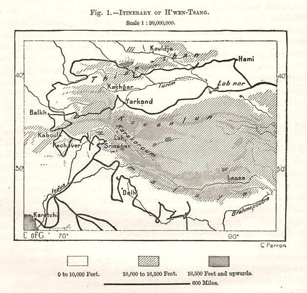 Associate Product H'wen-Tsang. Xuanzang itinerary. India Afghanistan Central Asia. Sketch map 1885