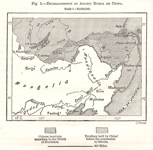 Associate Product Encroachments of Asiatic Russia on China. East Asia. Sketch map 1885 old