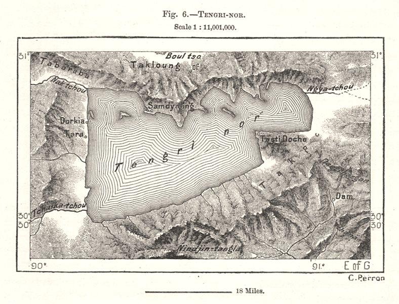 Associate Product Namtso. Tibet. Sketch map 1885 old antique vintage plan chart