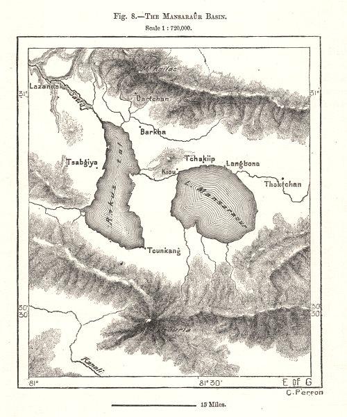 Associate Product The Mansarovar Basin. Tibet. Sketch map 1885 old antique plan chart