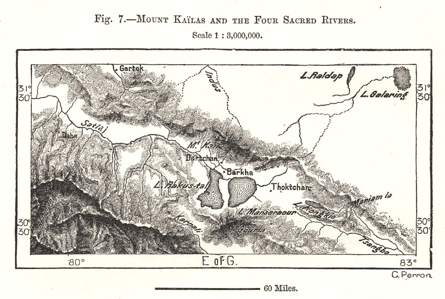 Associate Product Mount Kailash and the Four Sacred Rivers. Tibet. Sketch map 1885 old