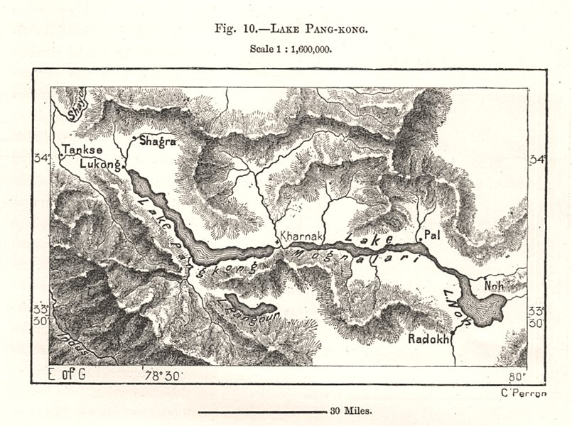 Associate Product Lake Pangong. Tibet. Sketch map 1885 old antique vintage plan chart