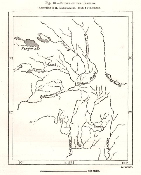 Associate Product Course of the Yarlung Tsangpo per H. Schlagintweit. Tibet. Sketch map 1885