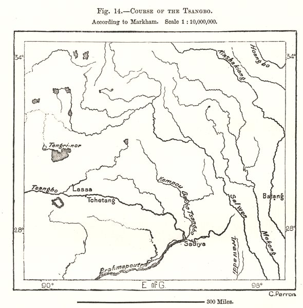 Associate Product Course of the Yarlung Tsangpo according to Markham. Tibet. Sketch map 1885