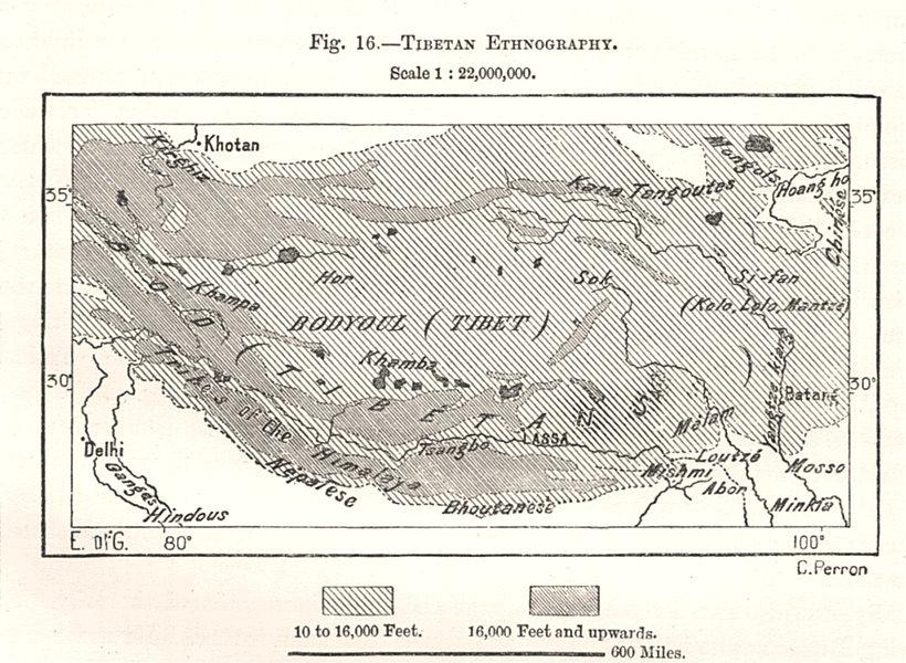 Associate Product Tibetan Ethnography. Sketch map 1885 old antique vintage plan chart