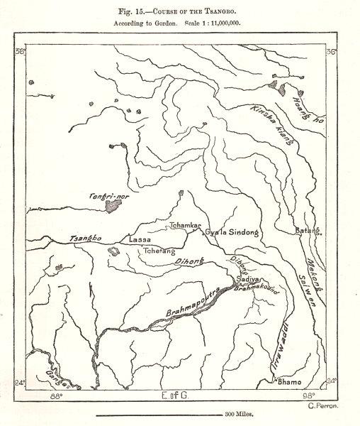 Course of the Yarlung Tsangpo according to Gordon. Tibet. Sketch map 1885