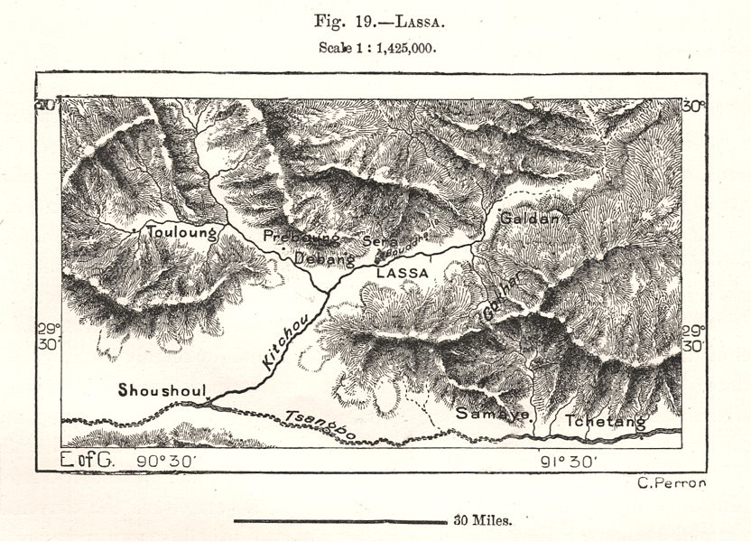 Associate Product Lhasa & environs. Tibet. Sketch map 1885 old antique vintage plan chart