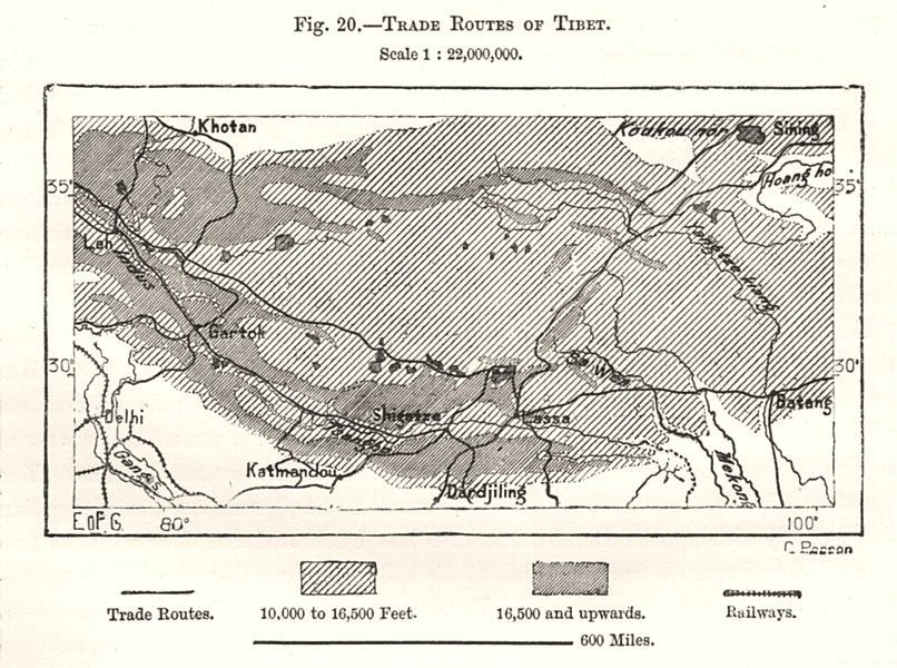 Associate Product Trade Routes of Tibet. Sketch map 1885 old antique vintage plan chart