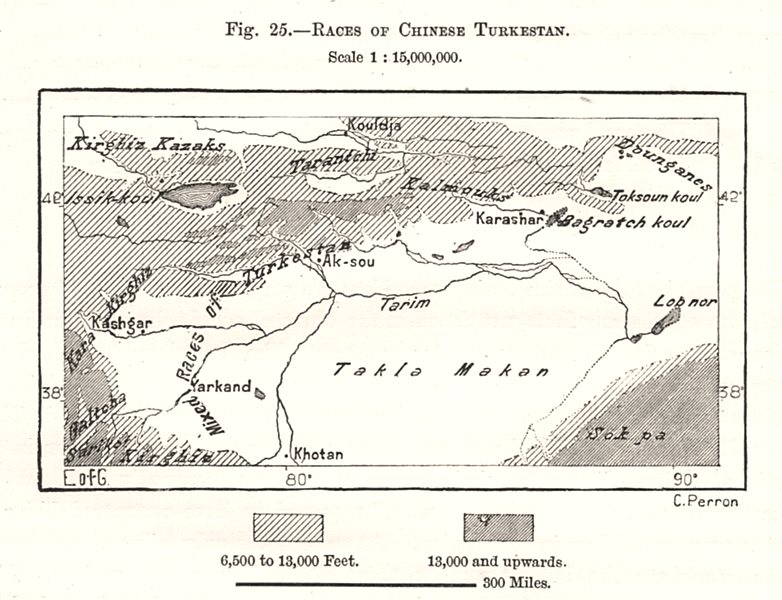 Associate Product Races of Chinese Turkestan. Xinjiang China. Sketch map 1885 old antique