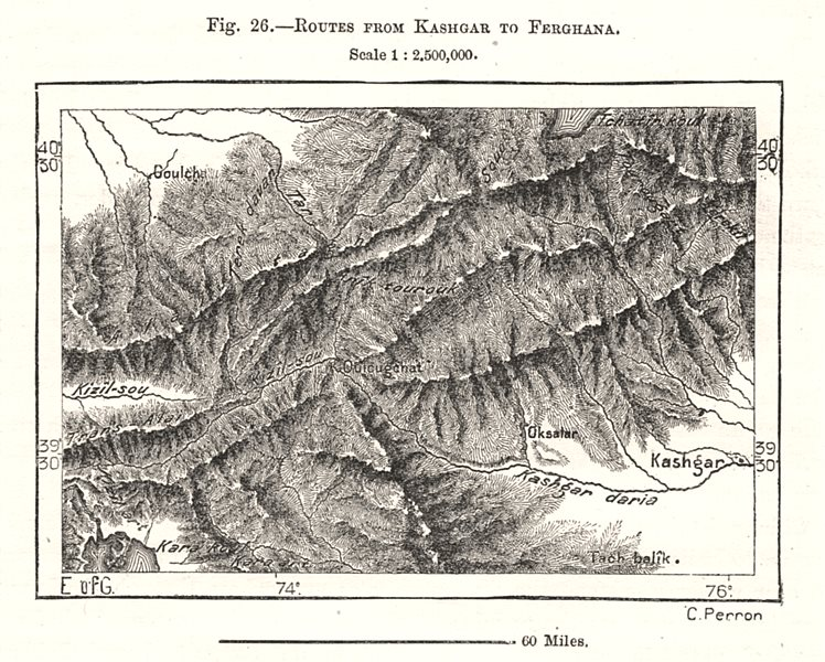 Associate Product Routes from Kashgar to Ferghana. China. Sketch map 1885 old antique chart