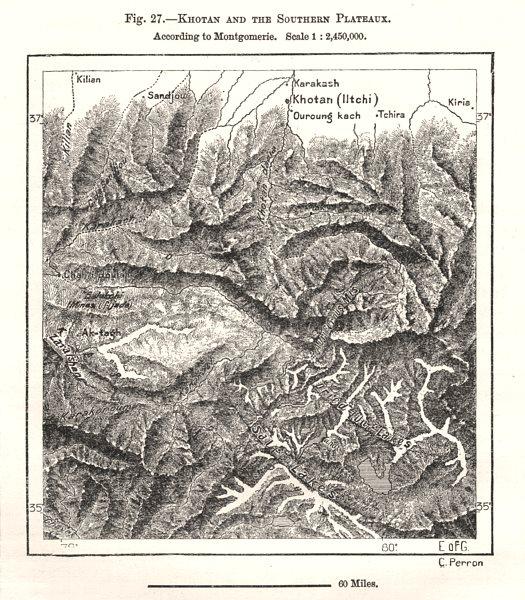Hotan & Southern Plateaux. Kunlun Mountains. Xinjiang, China. Sketch map 1885