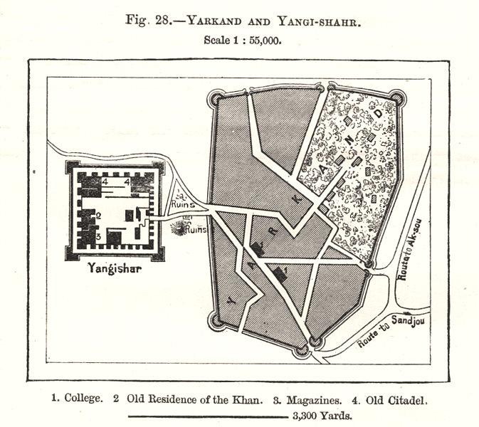 Associate Product Yarkand and Yangi-shahr. Xinjiang. Yarkant. China. Sketch map 1885 old