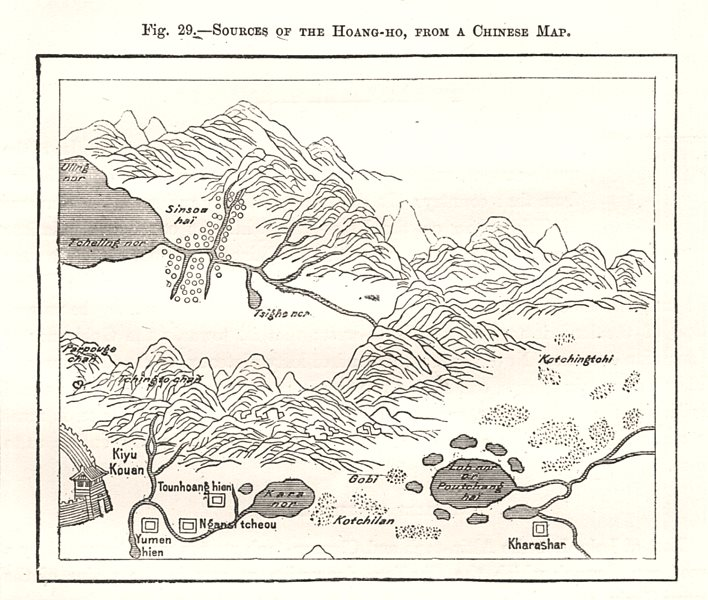 Associate Product Hoang-He / Yellow River sources, from a Chinese Map. China. Sketch map 1885