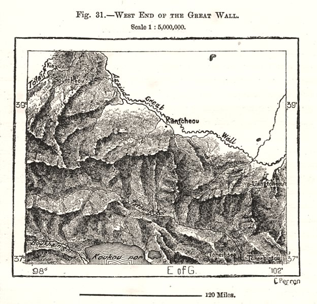 Associate Product West End of the Great Wall. China. Sketch map 1885 old antique plan chart