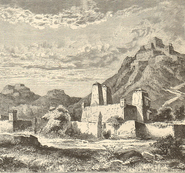 Associate Product Fortified Villages near Lanzhou, Province of Gansu. China 1885 old print