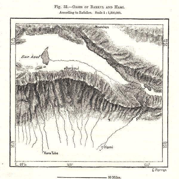 Associate Product Barkol/Barkul oases & Hami (Kumul), per Rafailov. Yizhou. China. Sketch map 1885