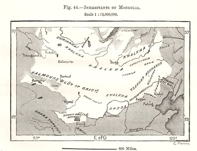 Associate Product Inhabitants of Mongolia. Sketch map 1885 old antique vintage plan chart
