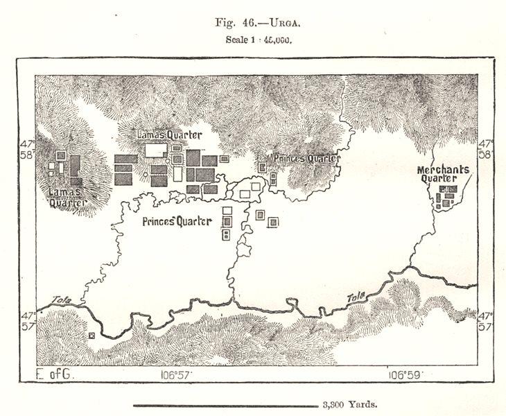 Ulaanbaatar & environs. Mongolia. Sketch map 1885 old antique plan chart