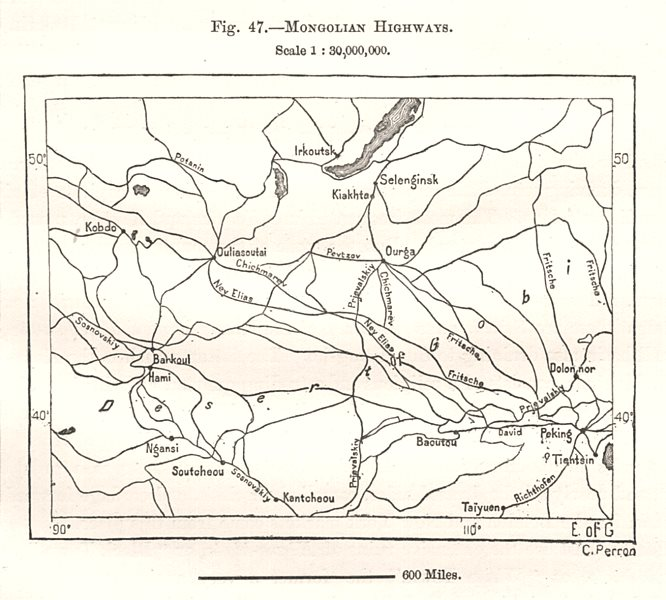Associate Product Mongolian Highways. Sketch map 1885 old antique vintage plan chart