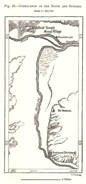 Confluence of the Nenjiang & Songhua rivers. Songyuan. China. Sketch map 1885