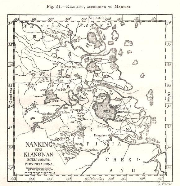 Associate Product Kiang-Su, according to Martini. Jiangsu. Nanjing. China. Sketch map 1885